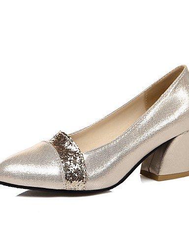 GGX/ Damen-High Heels-Büro / Lässig-PU-Blockabsatz-Absätze / Rundeschuh-Schwarz / Silber / Gold black-us6 / eu36 / uk4 / cn36