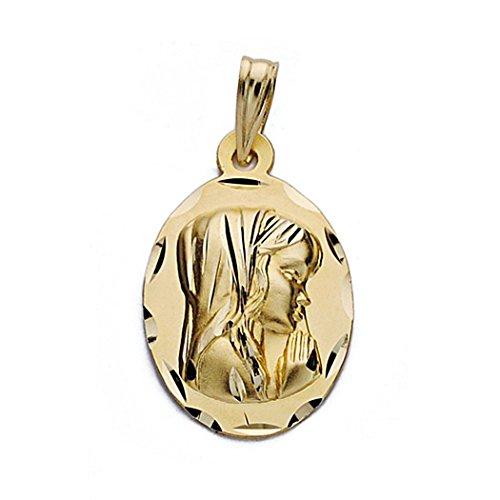 18k médaille d'or Virgin Nina 19mm. ovale [9096]