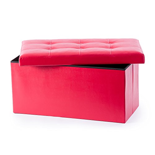 (Guidecraft Storage Bench - Red Ottoman Chest with Removable Top Cushion, Kids Seat and Foot Rest Stool Toy Box, Children's Furniture)