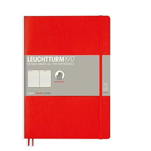 Leuchtturm1917 B5 Softcover Composition Notebook, 10 X 7 inches, 121 Dotted Pages, Red (349308)