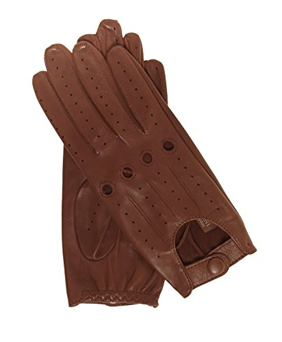 (Fratelli Orsini Everyday Women's Open Back Leather Driving Gloves Size 6 1/2 Color Medium Brown )