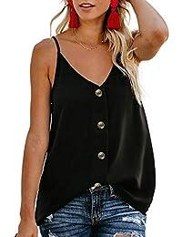Belllislove Camisola Camisa Casual con Botones sin Mangas con Cuello en V Chaleco de Gasa Transpirable Suelta para Mujer