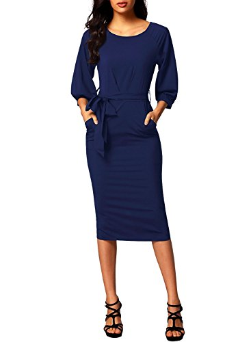 (Bulawoo Women's Round Neck Puff Sleeve Belted Pencil Dress with Pockets Large Size Blue)