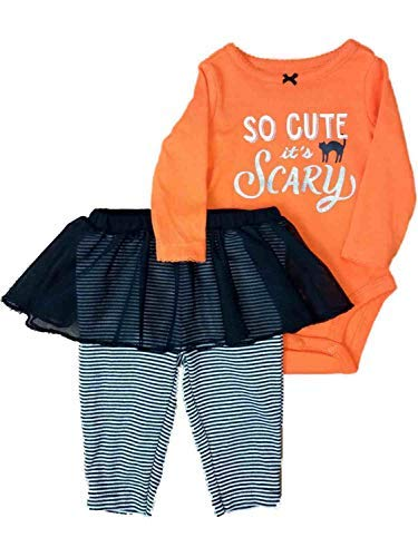 Carter's Baby Girls' 2-Piece Halloween Bodysuit and Tutu Pant Set (Orange/Black, Newborn) -