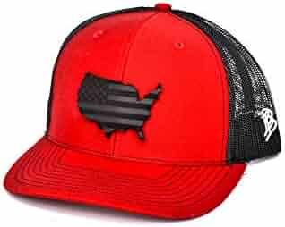 31c0163a3b8b2 Branded Bills  Midnight The Patriot  Dark Leather Patch Hat Curved Trucker  - OSFA