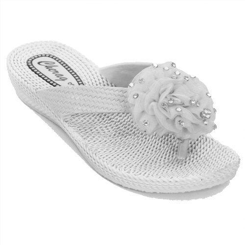 FANTASIA BOUTIQUE Damen Komfort Sandalen mit Diamant Blumen Anstecksträußchen Zehensteg Niedriger Absatz - Weiß, 38