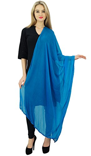 Wole Chunni azul de cuello Hijab de moda la de Desgaste Dupatta las gasa verano largo mujeres OaxwcqP
