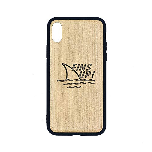 FINS UP Jimmy Buffet - iPhone Xs CASE - Maple Premium Slim & Lightweight Traveler Wooden Protective Phone CASE - Unique, Stylish & ECO-Friendly - Designed for iPhone Xs