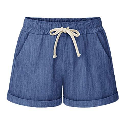 Vcansion Drawstring Elastic Waist Casual Comfy Cotton Linen Beach Shorts for Women Blue US 12-14/Asian 4XL ()