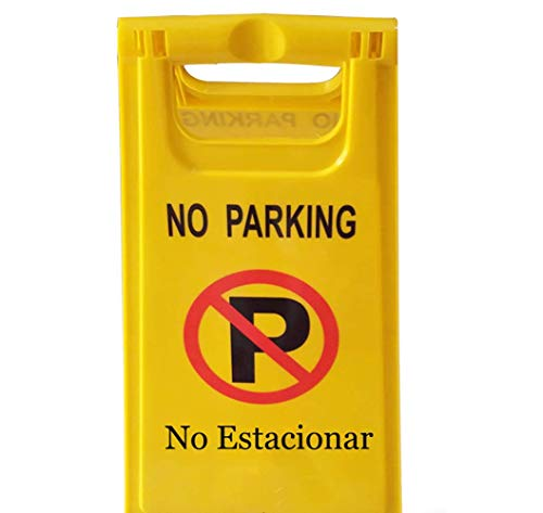 BESEA (Parkage of 5) OrangePlas 2-Sided Fold-Out Floor Warning Sign,Luminous Yellow(No Parking) (2 Parking Signs)