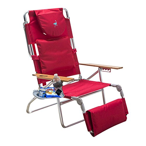 Padded Ostrich 3 N 1 Beach Chair Lounger with Side (Ostrich Folding Chaise)