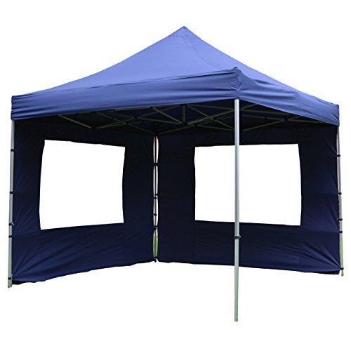 Nexos Hochwertiger Falt-Pavillon Partyzelt mit 4 Seitenteilen PROFI Ausführung für Garten Terrasse Feier Markt als Unterstand Plane wasserdichtes Dach 3 x 3 m blau