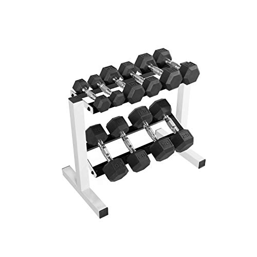 CAP Barbell 150 Pound Coated Hex Dumbbell Set with 2-Tier 24-Inch Rack