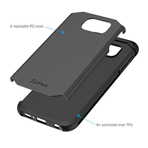 JETech Samsung Galaxy S6 Case Shock-Absorption TPU and Replaceable PC Cover Ultra Slim Fit (Black)