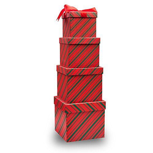 4 christmas gift boxes candy cane christmas nesting boxes with lids in 4 assorted sizes for holiday decorative wrapping red and green stripes - Christmas Candy Boxes