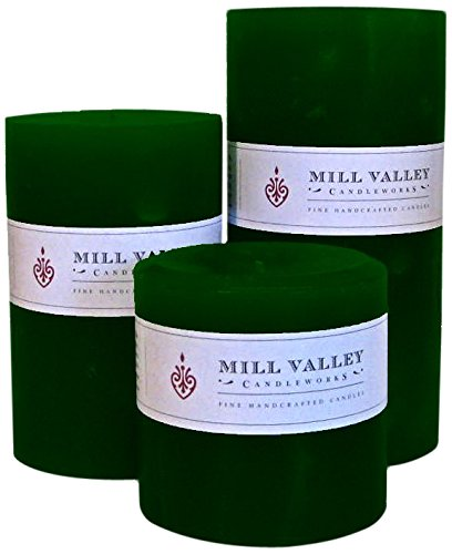 Mill Valley Candleworks Evergreen Unscented Candle Gift Set, 4-Inch, Set of 3 by Mill Valley Candleworks