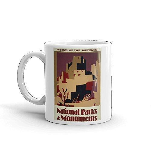Vintage poster - Pueblos of the Southwest 1089 - Glossy White Ceramic Mug (11 oz.)