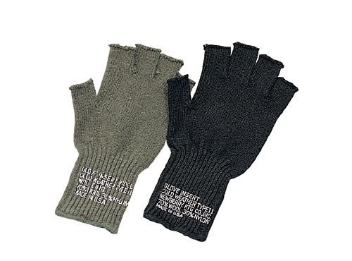 Rothco GI Wool Fingerless Glove, Olive - Wool Military Glove