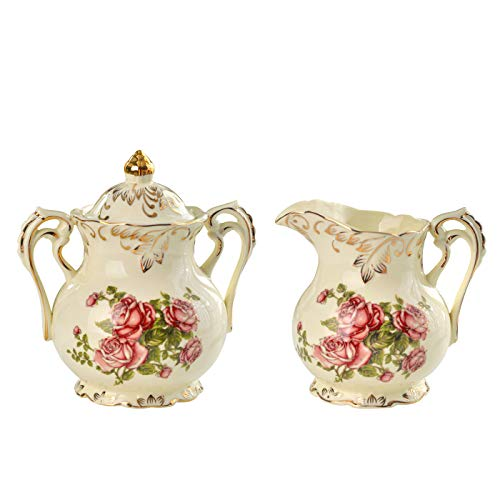 (YOLIFE Red Rose Pattern Golden Leaves Edge Ceramic Creamer and Sugar Bowl set )