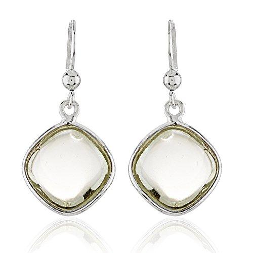 925 Sterling Silver Square Shape Green Amethyst Gemstone Dangle Earrings