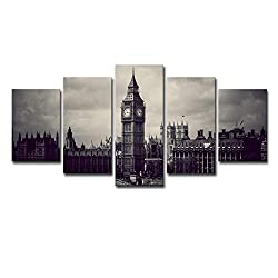 WTTLMAL Painting on Canvas Living Room Wall Decoration Oil Painting 5 Pieces Elizabeth Tower Clock Canvas Painting-30x45 30x60 30x75cm-frameless