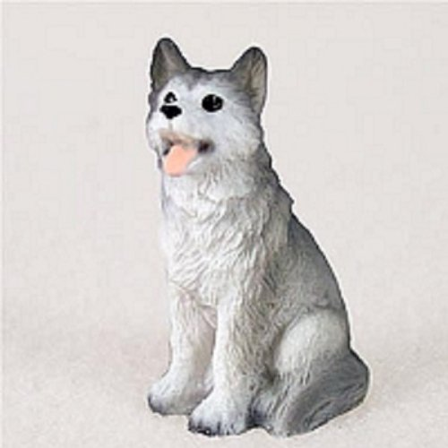 Conversation Miniature Husky Gray & White w/Brown Eyes Ti...