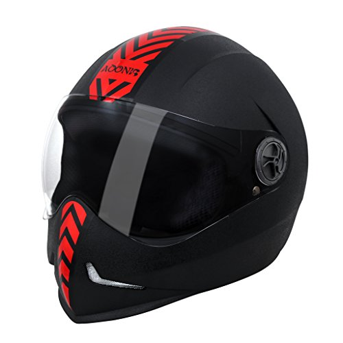 Steelbird Adonis Dashing Full Face Helmet with Red Sticker (Black and Red, L)