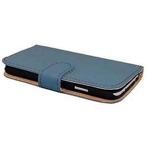 Avcibase Estilo libro del Carcasa del tirón del cuero de la PU para Samsung Galaxy S4 Mini azul i9190