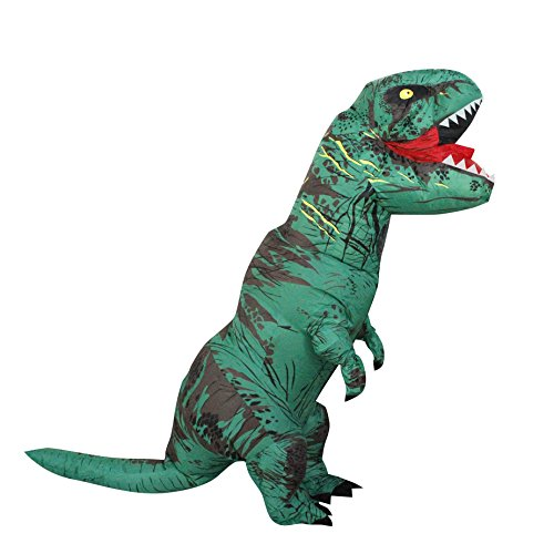 Seasonblow Adult Inflatable T-rex Dinosaur Halloween Suit Cosplay Fantasy Costume Green with USB (Scary T Rex)