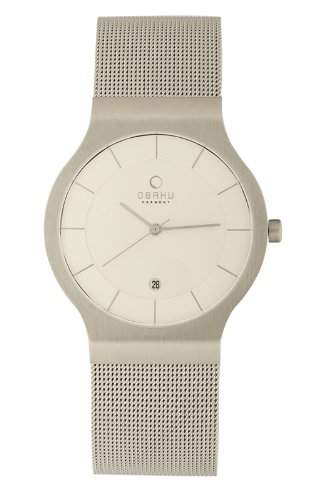 Obaku Men's V133GCIMC  White Dial Stainless Steel Date Watch