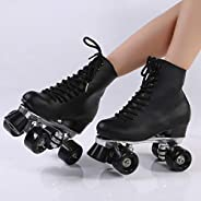 Wolong Black Roller Skates Double Row Roller Skates 4 Roller Skates Roller Skates Gift