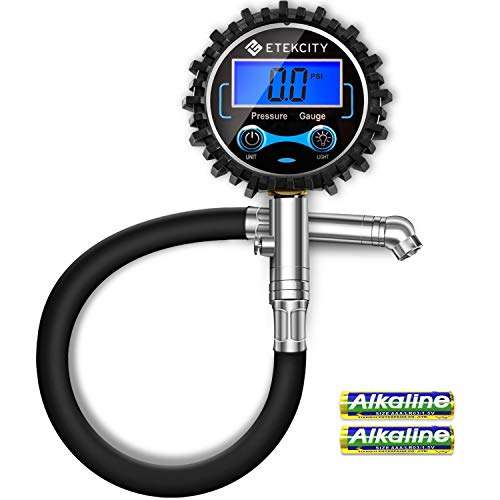 Etekcity Digital Tire Pressure Gauge 230 PSI with Backlit LCD Display Air Bleed & Rubber Hose, Heavy Duty Accurate 0.1 Resolution for Truck, SUV, RV, Motorcycle, Batteries Included, 2-Year Warranty