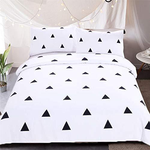 LIA Cotha Style1 AUSingle - 3pcs (1pcs Duvet Cover + 2pcs Pillow Cases) Simple Elegant Nordic Triangles Pattern Bedding Quilt Duvet Cover Pillow case Set Twin Full Queen King US/AU -