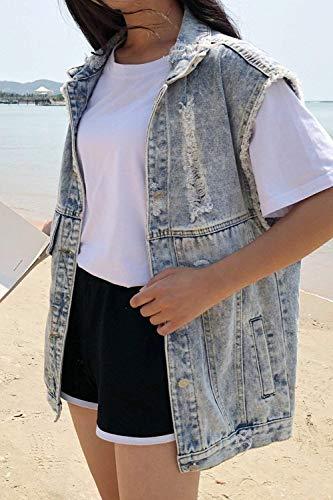 Tempo Festa Jeans Giacca Estivi Sciolto Camicetta Gilet Primaverile Libero Ragazze Cavo Fashion Azzurro Tendenza Smanicato Donna Vintage Style vw0HqFU