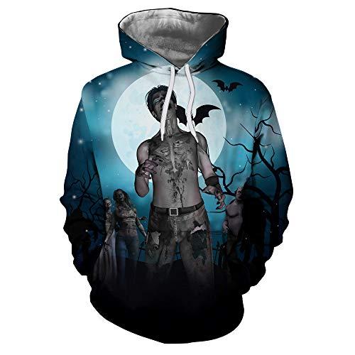 iDWZA Halloween Mens Women 3D Printing Long Sleeve Hoodies Sweatshirt Top Blouse