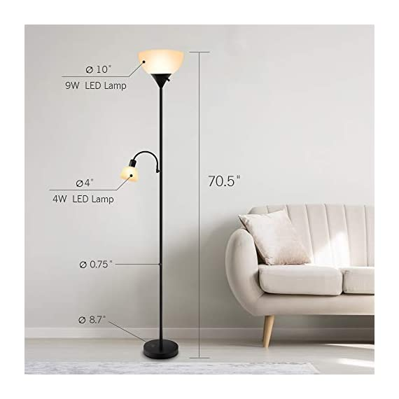 Floor Lamp - Standing Lamp, 9W+4W Energy Saving LED Bulbs, Torch Lamp with Adjustable Reading Lamp, 3000K Warm White, LED Floor Lamps for Bedroom, Living Room, Office, Working, Reading - ✔ ENERGY-SAVING LED BULBS - Adopting 2 LED Bulbs, this floor lamp consume very low amounts of power, which makes it more environment friendly. When comparing with traditional lighting solutions, this LED floor lamp has longer lifespan that will last 40,000 hours, which means lower maintenance costs and lower replacement cost, saving your time and money in a long term. ✔ ADJUSTABLE READING LAMP - Except for a 9-watt main lamp, there is also a 4-watt side lamp with gooseneck. The side lamp can be adjusted Into different angles, which is perfect for reading or working. Also, you don't have to worry about your eyes because this floor lamp emits 3000K warm white, which is very easy for eyes. With three choices of the rotary switch, you can choose Main Lamp On, Side Lamp On, or Both On according to your needs. ✔ EASY TO ASSEMBLE & MOVE - The assembly of this floor lamp is super easy, following the instruction, you can install it with no need for additional tools or parts. Due to its simple design, this floor light can be carried and moved easily, perfect for living room, bedroom or office. PS: the cord will be a little bit longer, but that's not defective, you will assemble it perfectly just following the steps. If you have any problem, please contact us, we'd like to help you out. - living-room-decor, living-room, floor-lamps - 41Ijc1iR9nL. SS570  -