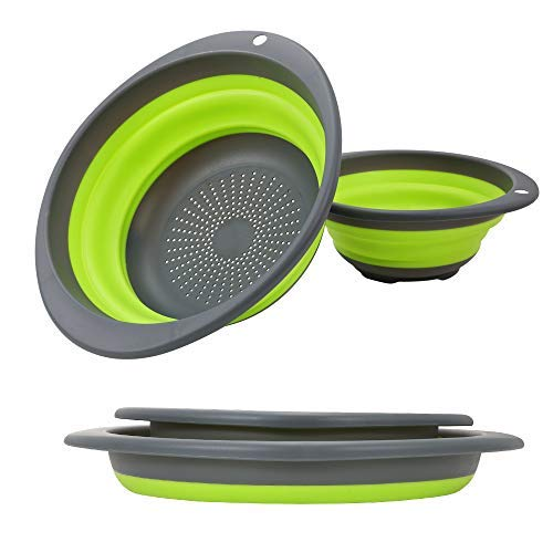 (Collapsible Colander set - 2 Collapsible Set, Learja Upgrade Food-Grade Silicone kitchen Strainer Space-Saver Folding Strainer Colander, Sizes 8 inches - 2 Quart, and 10 inches - 4 quart. (green))