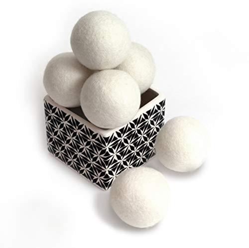 ZG- Home ZGH-106 10156 Wool Dryer Balls 6-Pack, XL Size Premium Reusable Natural Fabric Softener, ()