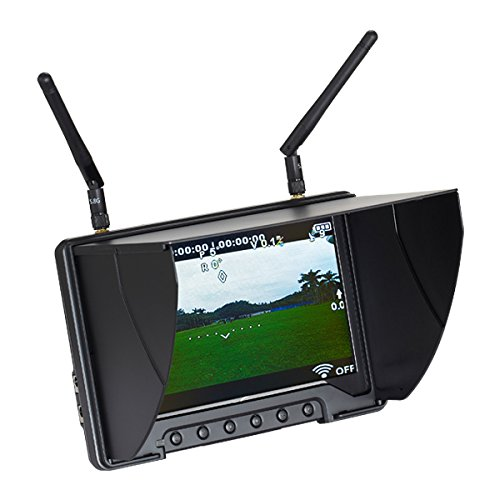 Flysight Black Pearl RC801 5.8Ghz 7 HD Screen Diversity Monitor with Integrated Battery, 1024x600