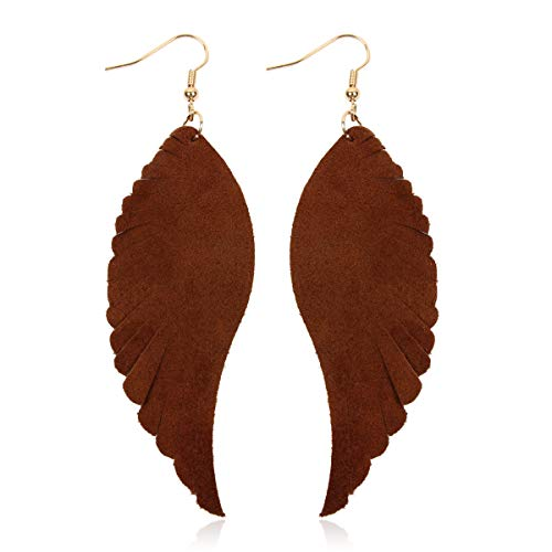 Bohemian Genuine Suede Real Leather Drop Earrings - Lightweight Feather Shape Tassel Dangles Fringe Leaf, Angel Wing (Angel Wing - Brown, 3)