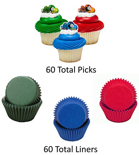 THOMAS THE TRAIN Cupcake Toppers and Liners - Green, Red, and Blue Thomas Picks with Matching Baking Liners - Enough for 60 Cupcakes]()