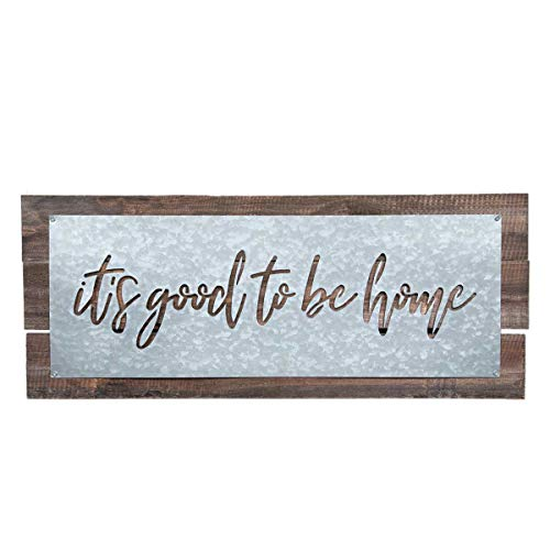 Brownlow Gifts Galvanized Metal Plate Sign on Wood-Plank Base Wall Décor 22 x 9-Inches Good to Be Home