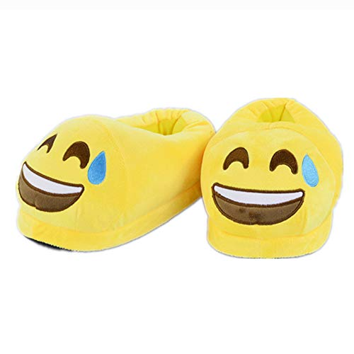 Slipper Women Emoji Men Cartoon Bootie Sweat Kids Slipper Shoes Yellow Funny Home TxOqaXHwW