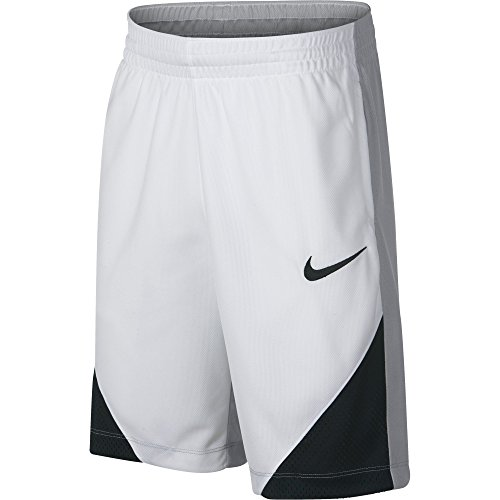 NIKE Boys' Assist Basketball Shorts, White/Wolf Grey/Black/Black, Large (Nike Embroidered Shorts)