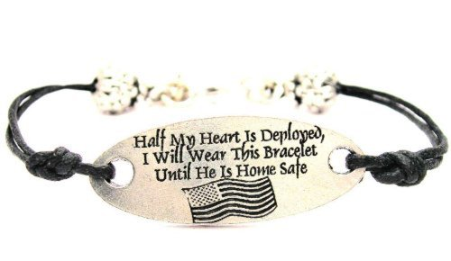 Half My Heart Is Deployed I Wear This Until He Is Home (Military Navy Bracelet)