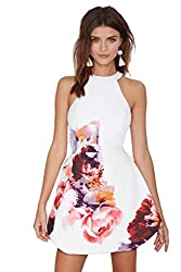 SheIn Women's Sleeveless White Floral Print Dress