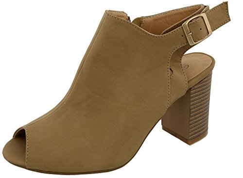 Top Moda Women's Cutout Buckle Peep Toe Chunky Stacked Heel Ankle Bootie (9 B(M) US, Tan) (Tan Peep Toe)
