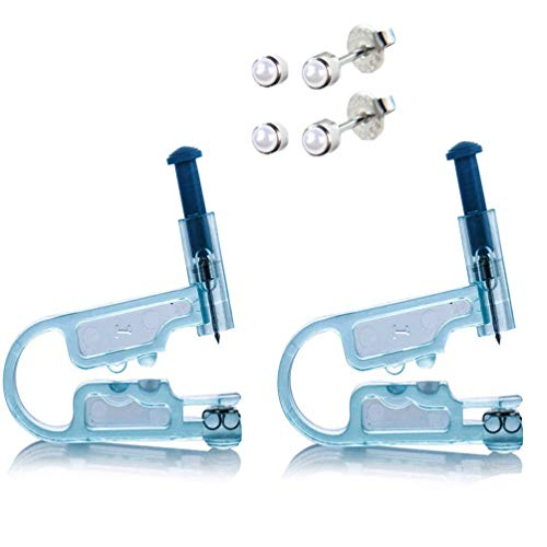 - 2 PCS Disposable Safety Asepsis Ear Piercing Gun Unit Tool With Ear Stud Asepsis Pierce Kit (Pearl)