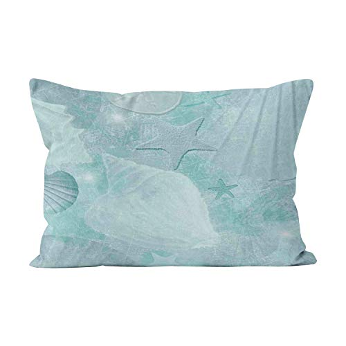 Wesbin Stylish Aqua Seashell Beauty Hidden Zipper Home Decorative Rectangle Throw Pillow Cover Cushion Case 12x20 Inch Boudoir One Side Design Printed Pillowcase