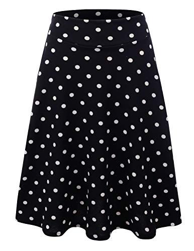 Doublju Womens High Waist Midi A-Line Skirt BLACKDOT (Classic Elastic Waist Skirt)